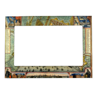 Antique Map of Amsterdam, Netherlands, Holland Magnetic Picture Frame