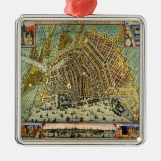Antique Map of Amsterdam, Netherlands, Holland Metal Ornament