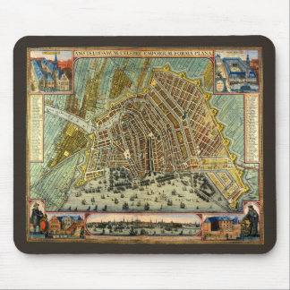 Antique Map of Amsterdam, Netherlands, Holland Mousepads