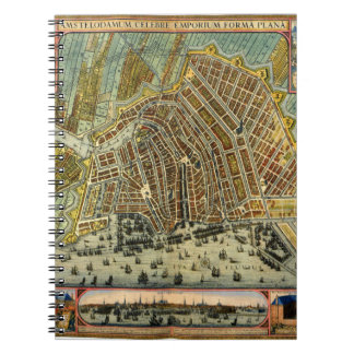 Antique Map of Amsterdam, Netherlands, Holland Spiral Note Books