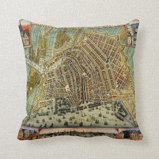 Antique Map of Amsterdam, Netherlands, Holland Throw Pillow