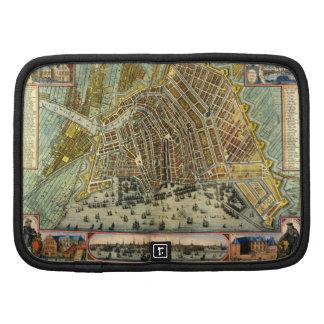 Antique Map of Amsterdam, Netherlands, Holland Folio Planner