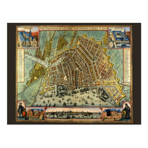 Antique Map of Amsterdam, Netherlands, Holland Post Card