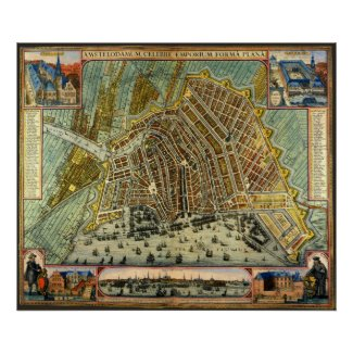 Antique Map of Amsterdam, Netherlands, Holland Posters