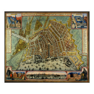 Antique Map of Amsterdam, Netherlands, Holland Poster