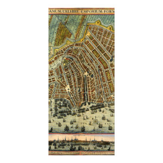 Antique Map of Amsterdam, Netherlands, Holland Rack Card Template