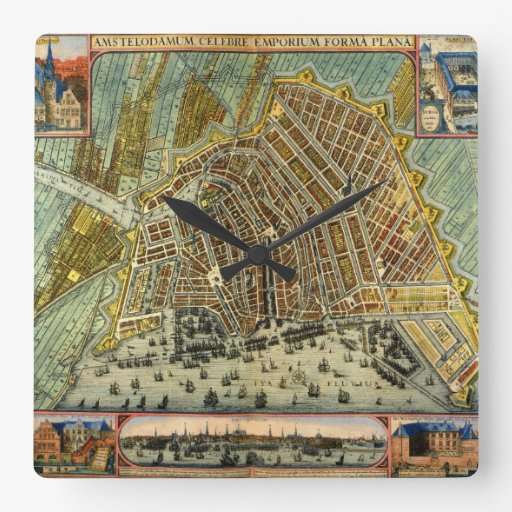 Antique Map of Amsterdam, Netherlands, Holland Square Wall Clock