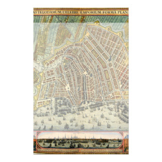Antique Map of Amsterdam, Netherlands, Holland Stationery