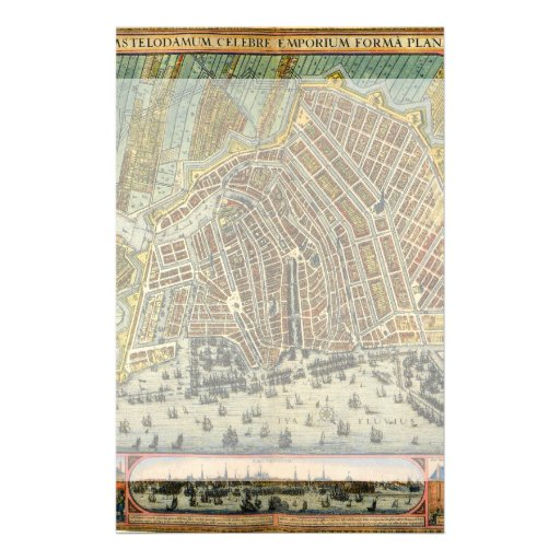 Antique Map of Amsterdam, Netherlands, Holland Personalized Stationery