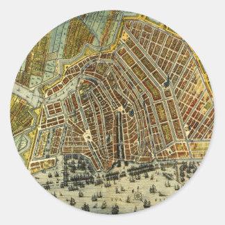 Antique Map of Amsterdam, Netherlands, Holland Round Sticker
