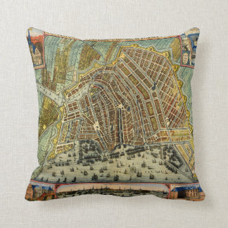 Antique Map of Amsterdam, Netherlands, Holland Throw Pillow