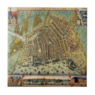 Antique Map of Amsterdam, Netherlands, Holland Tiles