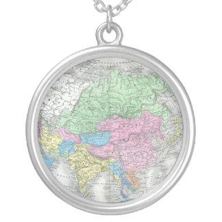 Antique Map of Asia circa 1800s Round Pendant Necklace
