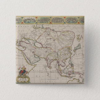 Antique Map of Asia Pinback Button