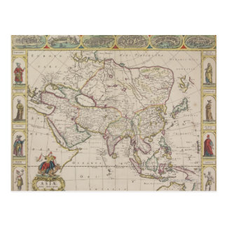 Antique Map of Asia Post Card