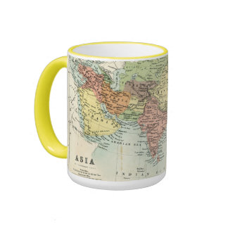 Antique map of Asia Ringer Mug