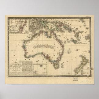 Antique Map of Australia 1826 Poster