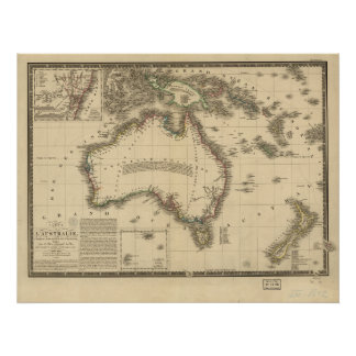 Antique Map of Australia 1826 Posters