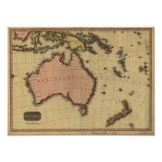 Antique Map of Australia and New Zealand 1818 Poster