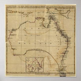 Antique Map of Australia circa 1770 Poster