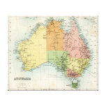 Antique map of Australia Stretched Canvas Print