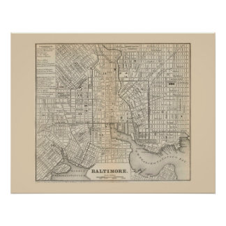 Antique map of Baltimore Maryland 1866 Posters