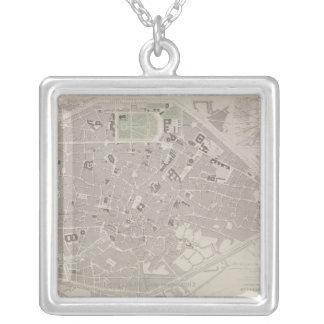 Antique Map of Belgium 2 Square Pendant Necklace