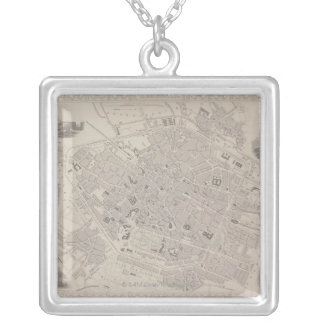 Antique Map of Belgium Square Pendant Necklace