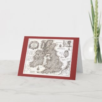 Antique Map of Britain - Greeting Card card