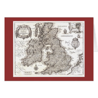 Antique Map of Britain - Greeting Card