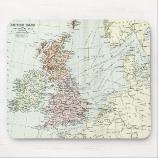 Antique map of British Isles and Surrounding Seas Mouse Pad