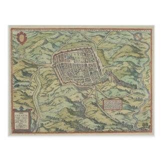 Antique Map of Calatia, Italy Postcard