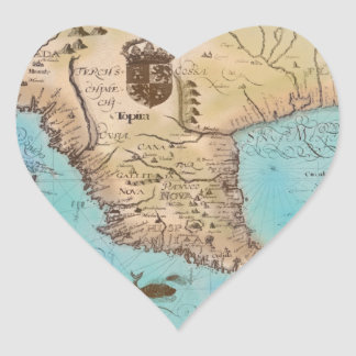 Antique Map of California and Central America Heart Sticker