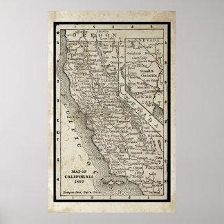 Antique Map of California Poster