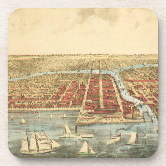 Antique Map of Chicago, LaSalle Street and River Beverage Coaster