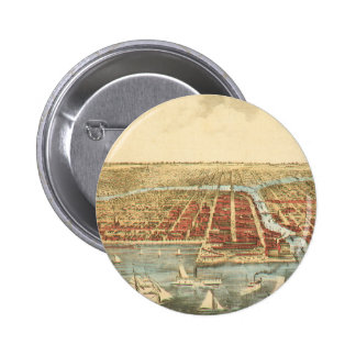 Antique Map of Chicago, LaSalle Street and River Pinback Buttons