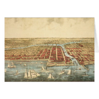Antique Map of Chicago, LaSalle Street and River Card
