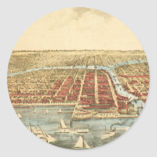 Antique Map of Chicago, LaSalle Street and River Classic Round Sticker