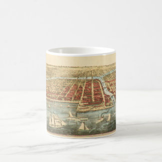 Antique Map of Chicago, LaSalle Street and River Coffee Mug
