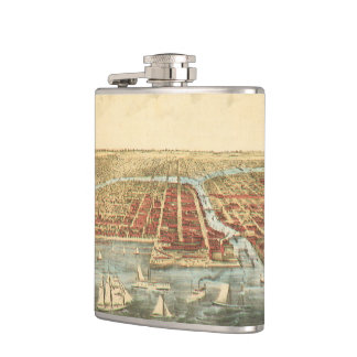 Antique Map of Chicago, LaSalle Street and River Flask