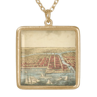 Antique Map of Chicago, LaSalle Street and River Gold Plated Necklace
