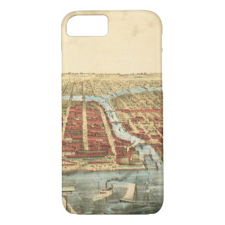 Antique Map of Chicago, LaSalle Street and River iPhone 7 Case