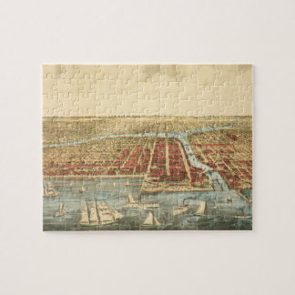 Antique Map of Chicago, LaSalle Street and River Jigsaw Puzzle