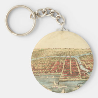 Antique Map of Chicago, LaSalle Street and River Keychain