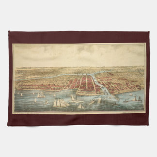 Antique Map of Chicago, LaSalle Street and River Kitchen Towels