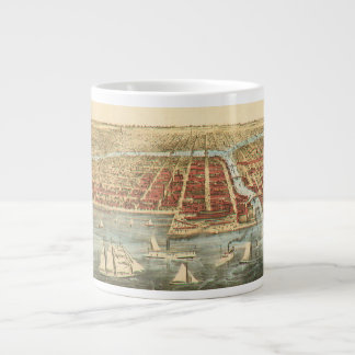 Antique Map of Chicago, LaSalle Street and River Large Coffee Mug