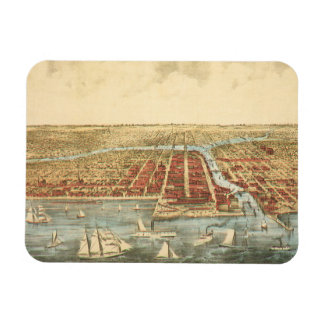 Antique Map of Chicago, LaSalle Street and River Magnet