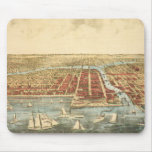 Antique Map of Chicago, LaSalle Street and River Mouse Pad