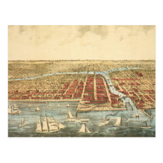 Antique Map of Chicago, LaSalle Street and River Postcard
