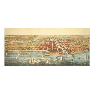 Antique Map of Chicago, LaSalle Street and River Rack Card